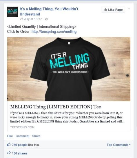 Personalised Facebook Ad - It's A Melling Thing slogan t-shirt