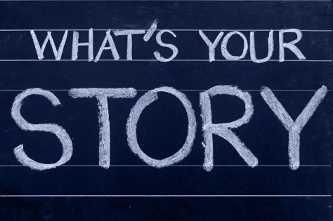 "Chalkboard with ""What's Your Story?"" written on it"